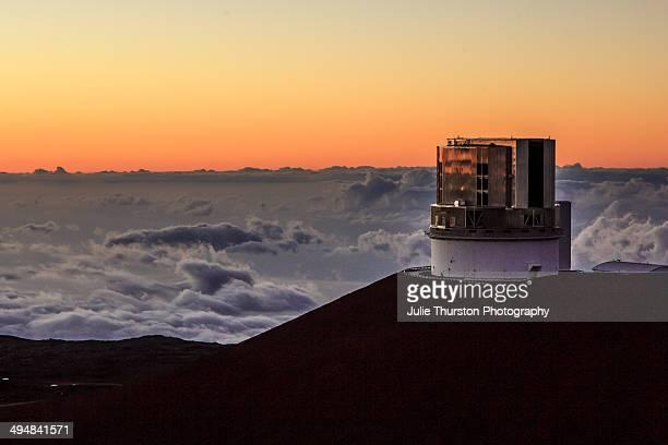 Night Sky Falls on the Subaru Optical IR Telescope Located on the Summit at the Mauna Kea Observatories on the Big Island of Hawaii