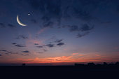 Night sky landscape and moon, stars, Ramadan Kareem celebration