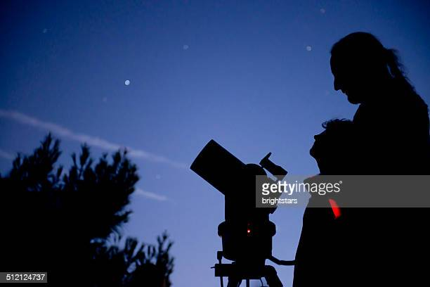 Night sky observation with a telescope