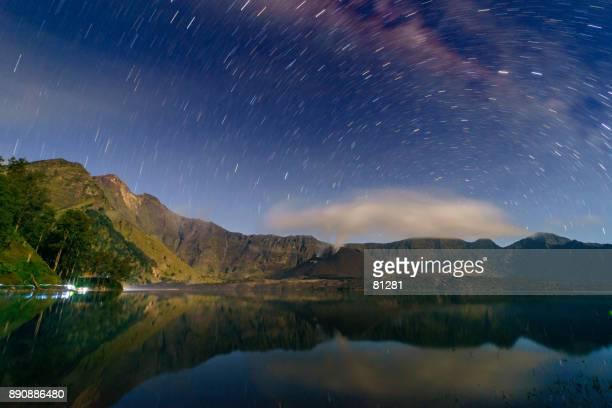Night sky over Lake Segare Anak, Mount Rinjani, Lombok, West Nusa Tenggara, Indonesia