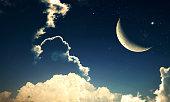 Crescent moon with Stars - Eid Mubarak, holy month,  Ramadon Kareem background