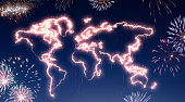 A dark night sky with a sparkling red firecracker in the shape of the world composed into.(series)
