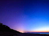 night sky with stars and milky way over beach