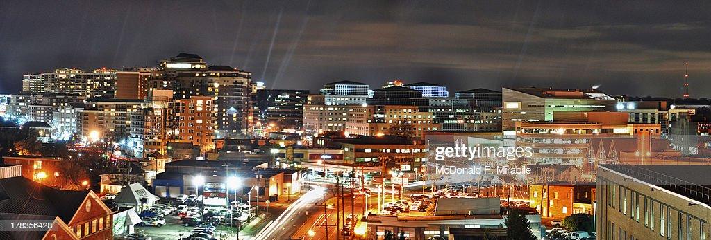 Night skyline view of Arlington, VA