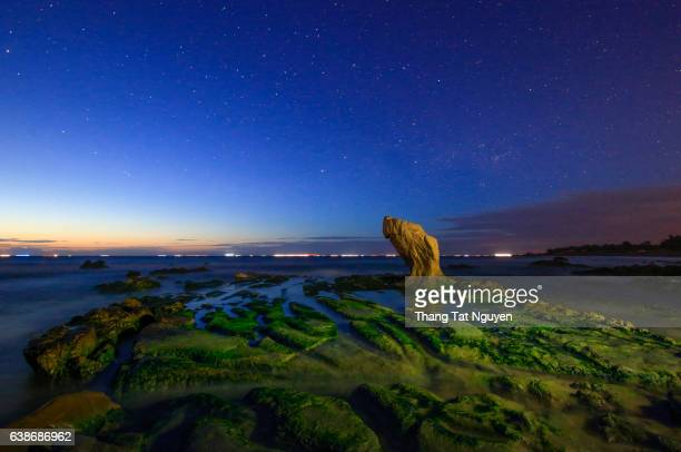 A night star in Strange rocks in the morning at Co Thach beach, Tuy Phong, Binh Thuan province, Vietnam