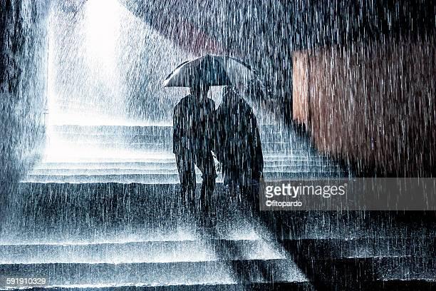 Night Storm (raining) and people
