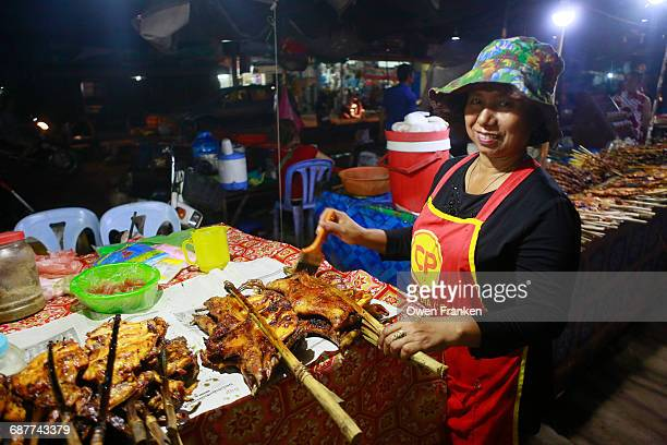 night streetfood, grilled meats, Siem Reap