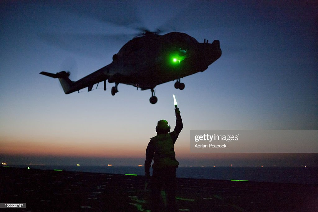 Night time exercise with helicopter