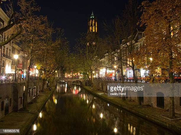 CONTENT] Night time in the center of the Dutch city Utrecht The Oudegracht reflects the dark sky and the historic buildings in its calm water as the...