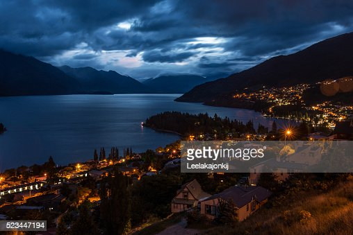 New Zealand Time Image: Night Time Of Queenstown New Zealand Stock Photo