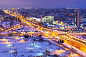Scenic night winter aerial panorama of Minsk, Belarus. See also: