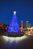 Night time view of a Christmas tree in the Kobe harbor, Hyogo Prefecture, Japan