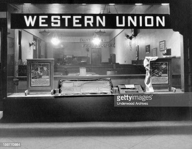 Night time view of a Western Union telegraph office c 1933
