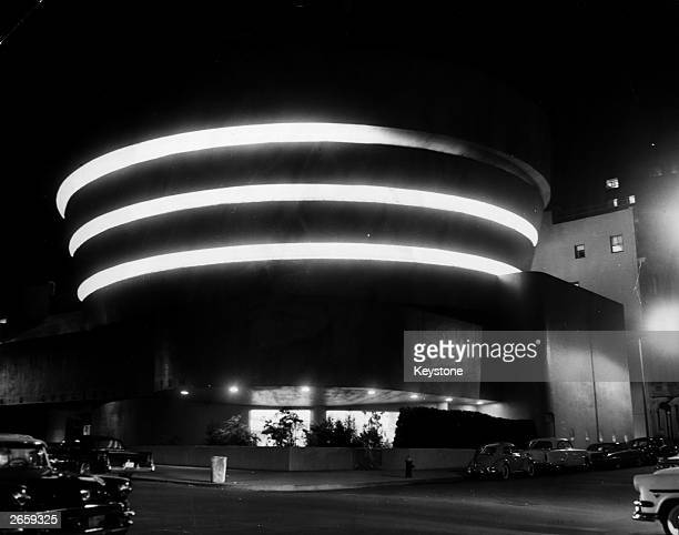 A night time view of The Guggenheim Museum New York circa 1959 designed by Frank Lloyd Wright