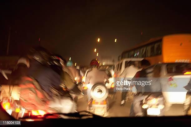 Night traffic, Delhi, India