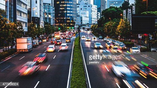 Night traffic in the city. Tokyo.