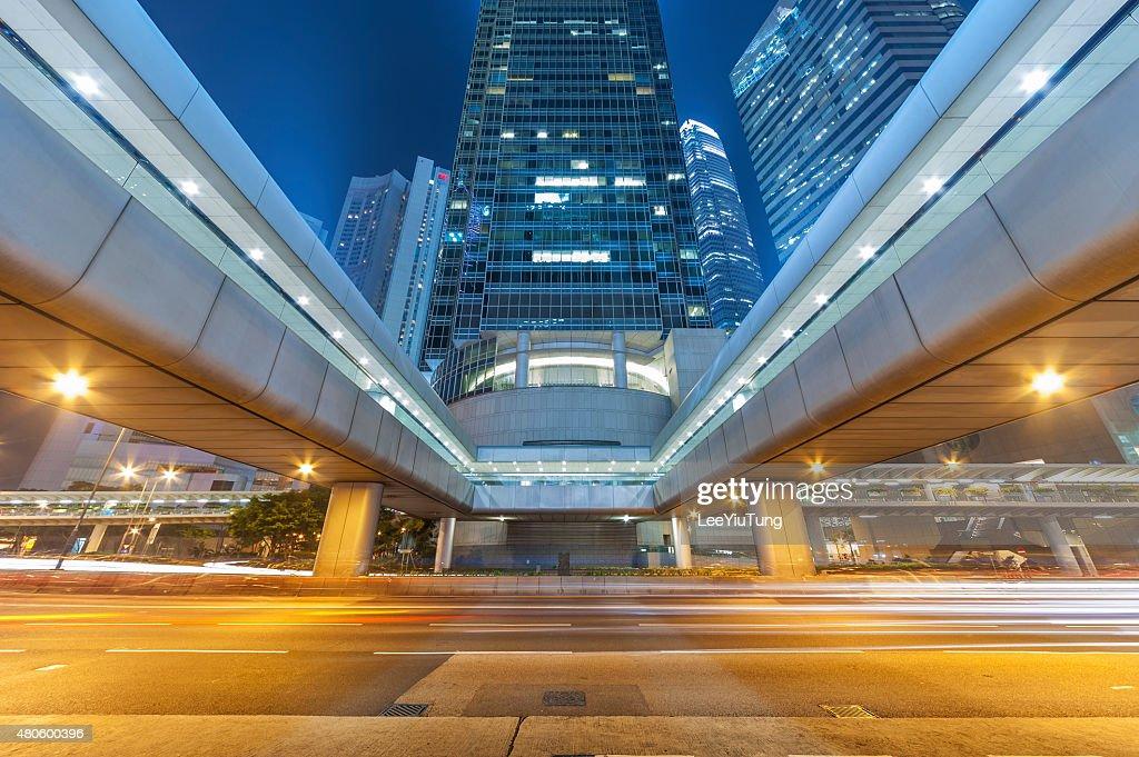 Night Traffic in urban city : Stock Photo