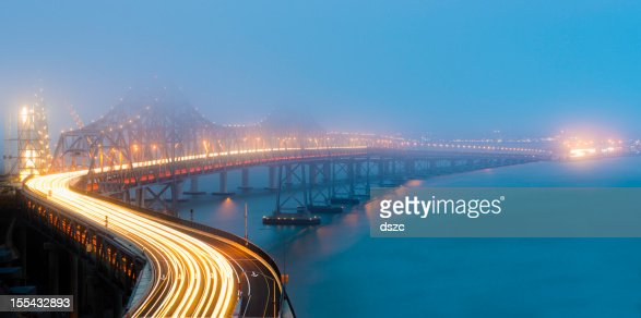 Night Traffic on Bay Bridge in Fog Looking at Oakland