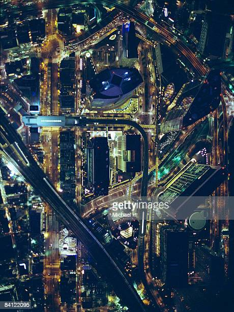 Night view aerial photography of Shiodome