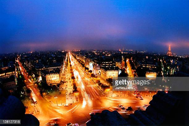 Night view from Arc de Triomphe, Paris, France