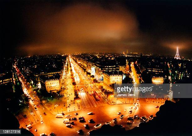 Night view from Arc de Triomphe, Paris, France
