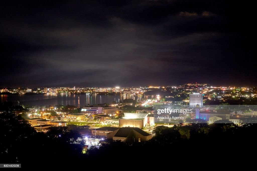 A night view from Hagatna, Guam on August 16, 2017. With the threat of missiles from North Korea the number of tourists have dropped slightly, and while the rest of the world is uneasy, island residents continue on with their daily lives.