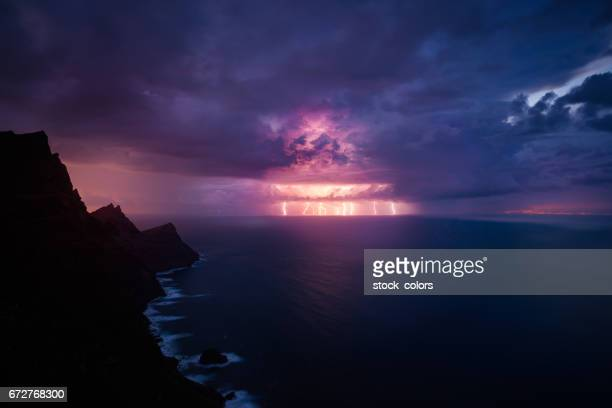 night view in the storm