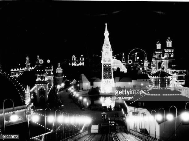 A night view looking down one of the rides at the famous Luna Park at Coney Island New York 1938