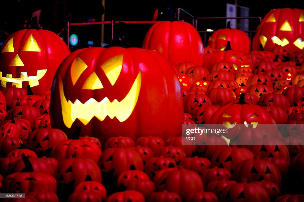 A night view of 500 Jackolanterns for the upcoming Holloween in front of a shopping mall on October 29 2014 in Shenyang Liaoning province of China A...