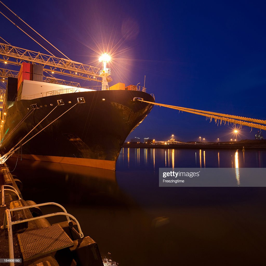 Night view of a cargo ship