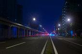 Night view of a straight street in Yokohama