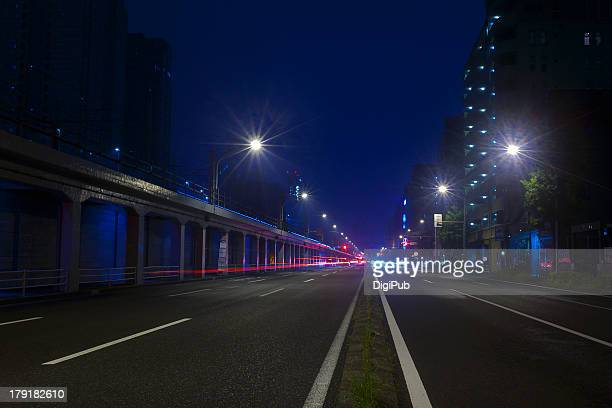 Night view of a straight street in Yokohama