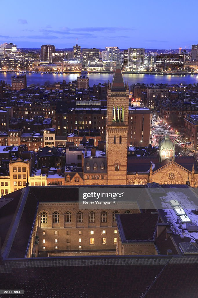 Night view of Back Bay and Charles River