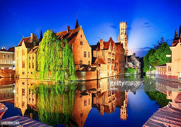 Night view of Belfry Tower in Bruges, Belgium