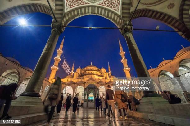 Night View Of Blue Mosque During Ramadan, Istanbul, Turkey