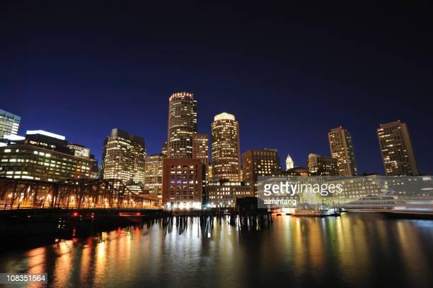 Night View of Boston Waterfront