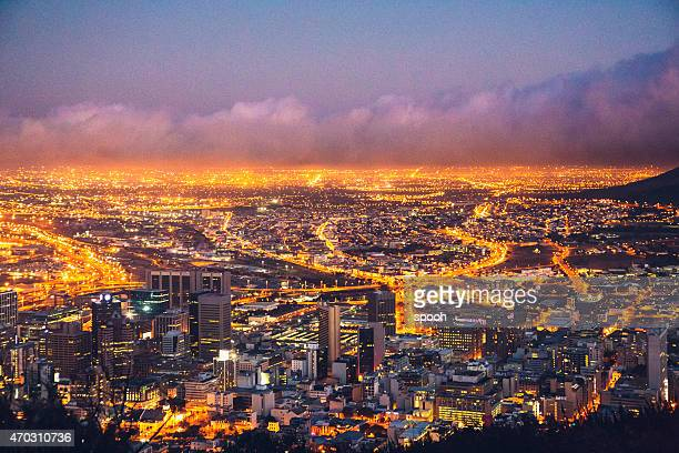 Night view of Cape Town in South Africa