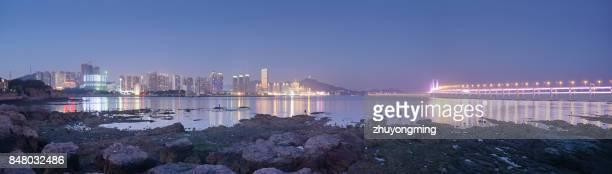 Night view of dalian xinghai bay panoramic