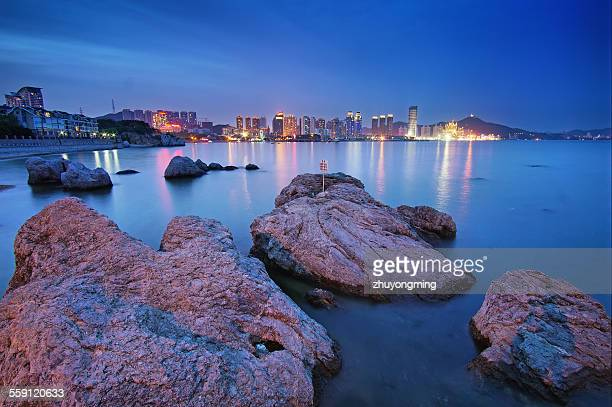 Night view of dalian xinghai bay