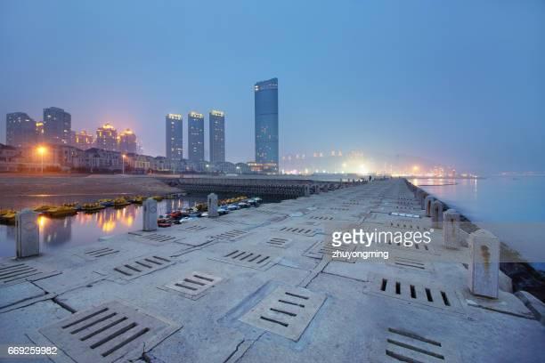 Night view of dalian xinghai bay