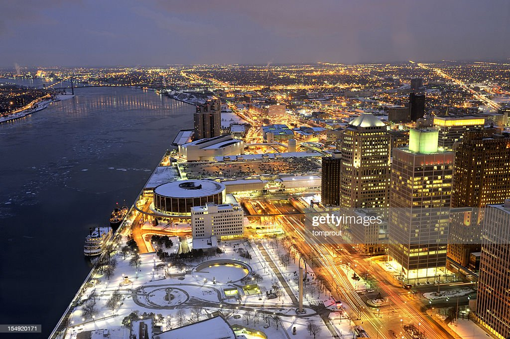 Night View of Detroit, Michigan USA