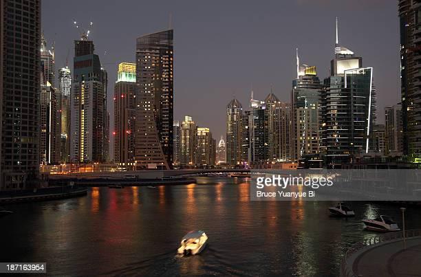 Night view of Dubai Marina and canal