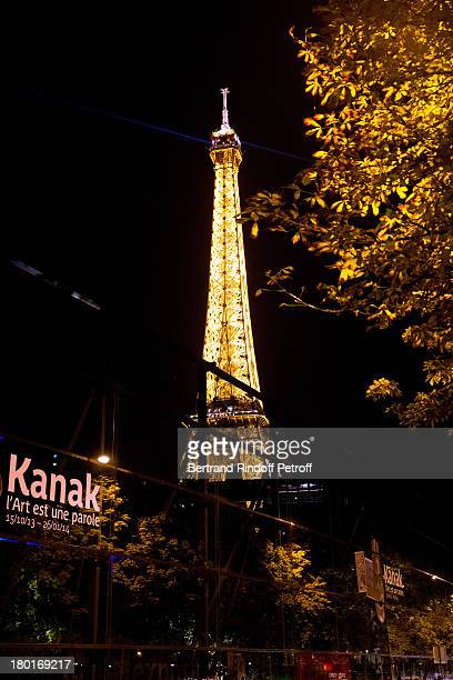 Night view of Eiffel Tower from Quai Branly Museum garden whyle 'Friends of Quai Branly Museum Society' dinner party at Musee du Quai Branly on...
