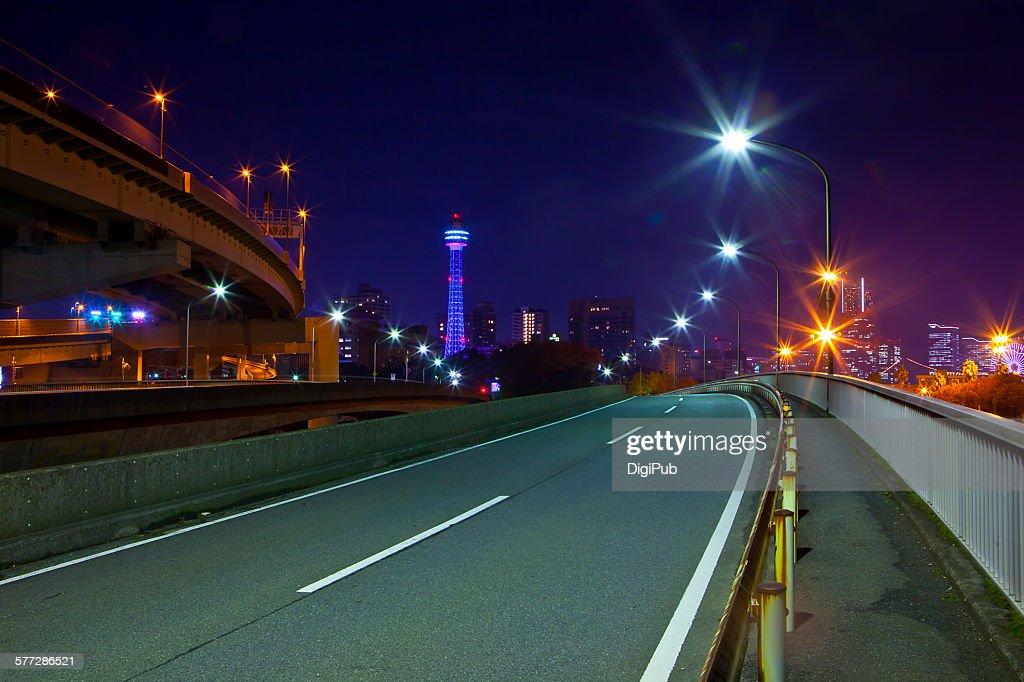 Night view of empty overpass