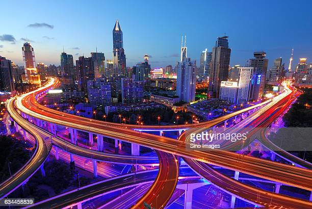 night view of express way in Shanghai