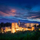 Night View of Fantastic Alhambra, European travel landmark, Spain