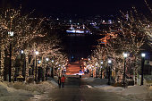Night view of Hachimanzaka Slope, Hakodate, Hokkaido, Japan