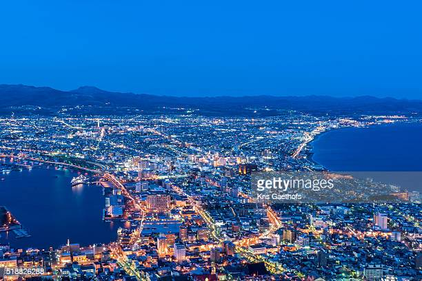 Night view of Hakodate Bay as seen from the top of Mt Hakodate