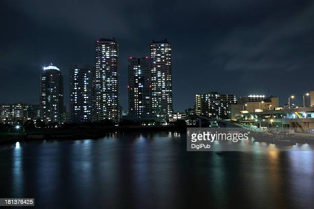 Night view of high-rise apartments in waterfront
