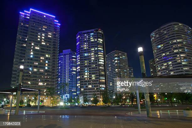 Night view of high-rise apartments